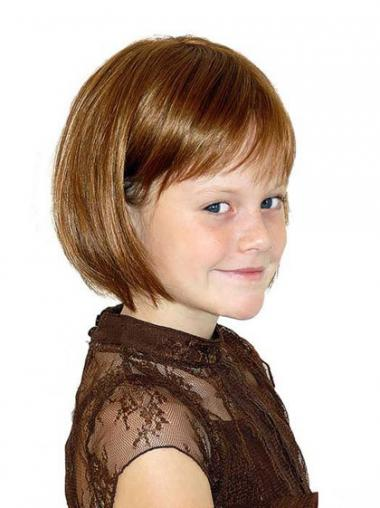 Straight Chin Length Auburn Synthetic 100% Hand-tied Kids Wigs