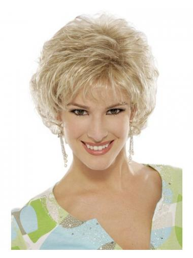 Blonde Curly Wig With Capless Short Length Classic Cut