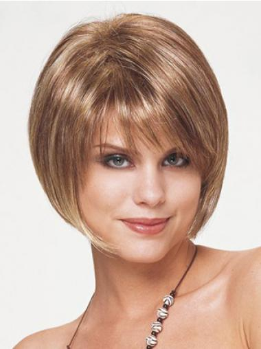 Synthetic Bob Wigs Short Length Blonde Color Straight Style With Capless