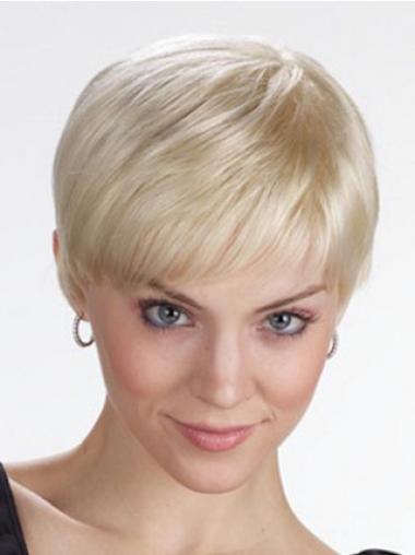Monofilament Wigs With Bangs Straight Style Cropped Length