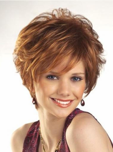Cheap Wigs For Women Boycuts Auburn Color Wavy Style With Capless