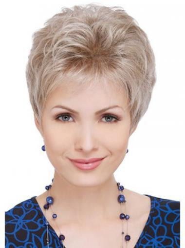 Wigs For Elderly Lady With Capless Wavy Style Short Length
