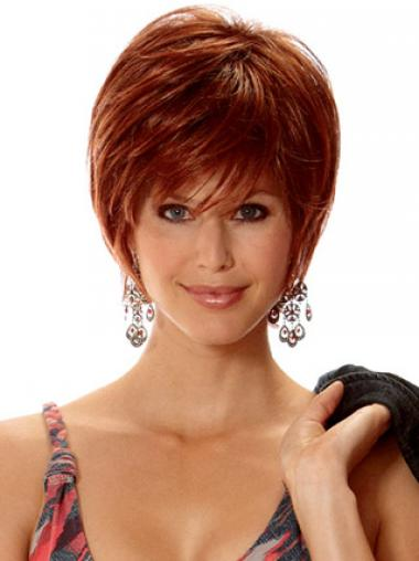 Straight Layered Short No-Fuss Auburn Synthetic Wigs