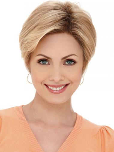 Flexibility Blonde Short Straight Layered Monofilament Wigs