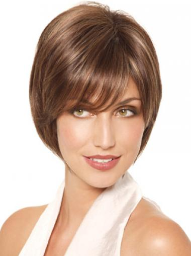 Chin Length Straight Monofilament Brown Fabulous Bob Wigs