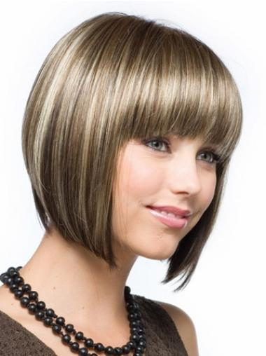 Bobs Straight Brown Capless Affordable Short Wigs