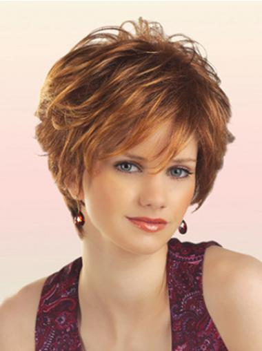 Natural Hair Wig With Capless Short Length Layered Cut