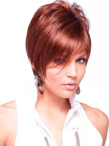 Cheap Real Hair Wigs Red Color Short Length Straight Style