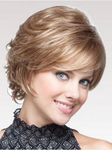 Blonde Wavy Short Layered Capless Cheap Wigs