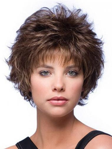 Layered Wavy Brown Capless Cheap Short Wigs