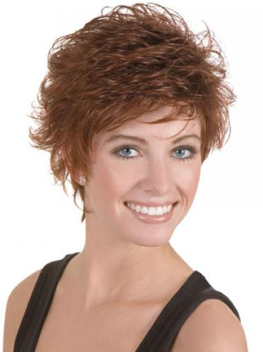 Discount Brown Cropped Wavy Boycuts Lace Front Wigs