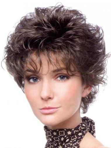 Heat Resistant Wigs Cropped Length Brown Color Layered Cut