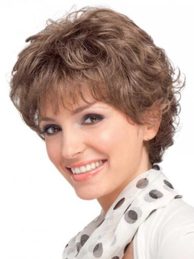Modern Auburn Short Wavy Layered Human Hair Wigs