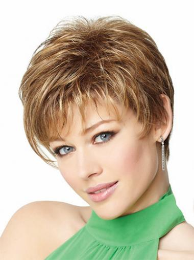 Fashion Blonde Cropped Straight Boycuts Lace Front Wigs