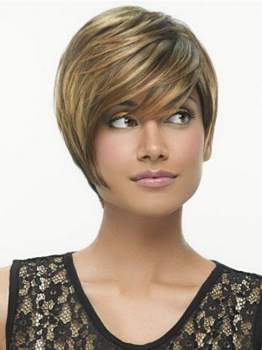 Bobs Straight Brown Capless High Quality Short Wigs