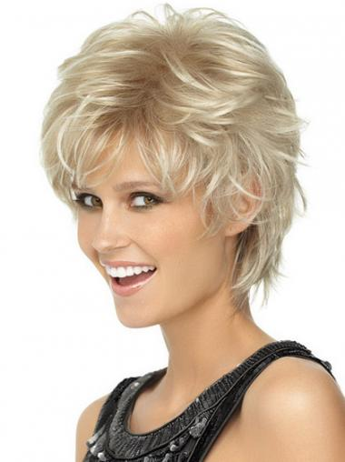 Ladies Blonde Wigs Wavy Style Short Length Blonde Color