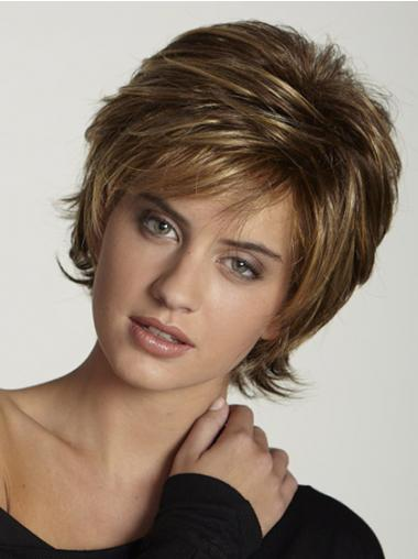 Synthetic Wigs UK Brown Color Short Length Layered Cut