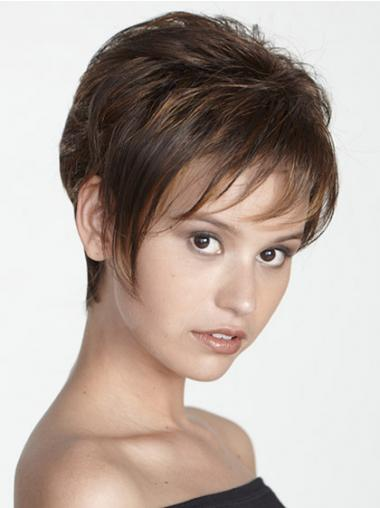 Boycuts Straight Brown Capless Modern Short Wigs