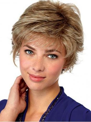 Hairstyles Blonde Short Wavy Layered Lace Front Wigs