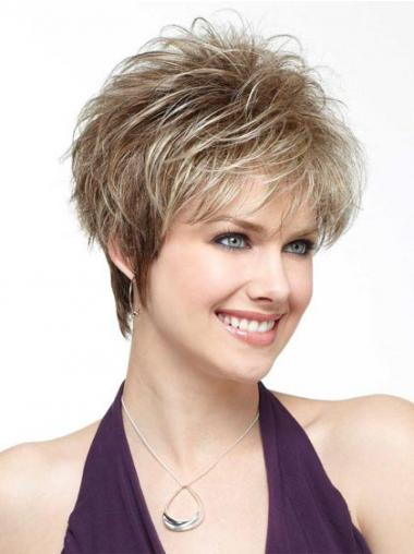 Women's Wigs Blonde Color Straight Style Boycuts Cropped Length