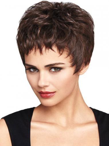 Natural Auburn Cropped Wavy Boycuts Lace Front Wigs