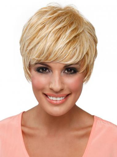 Boycuts Straight Blonde Capless Top Short Wigs