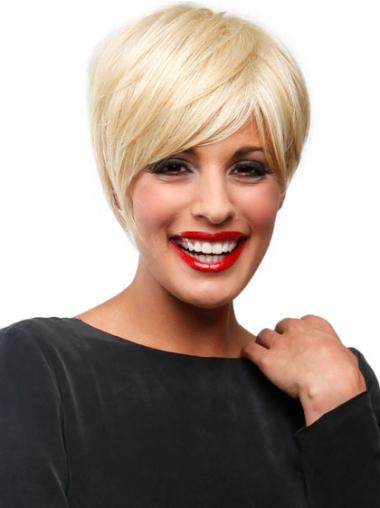 Affordable Blonde Short Straight Boycuts Lace Front Wigs