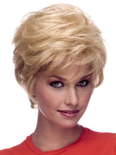 Wigs Human Hair Blonde Color Short Length Layered Cut