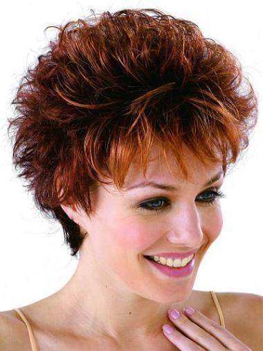 Classic Cropped Wavy Auburn Synthetic Petite Monofilament Wigs