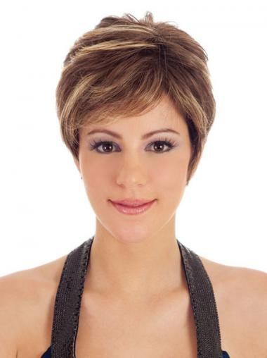 Boycuts Straight Brown Capless Trendy Short Wigs