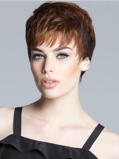 Sassy Brown Cropped Straight Boycuts Lace Front Wigs