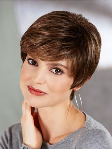 Boycuts Straight Brown Capless Perfect Short Wigs