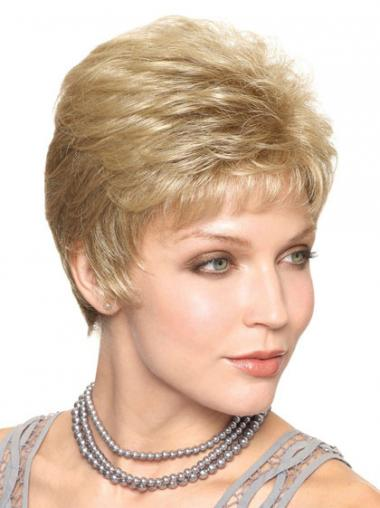 "Cropped Straight Capless Boycuts 6"" Trendy Synthetic Wigs"
