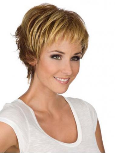 """6"""" Modern Wavy Boycuts Blonde Short Wigs"""