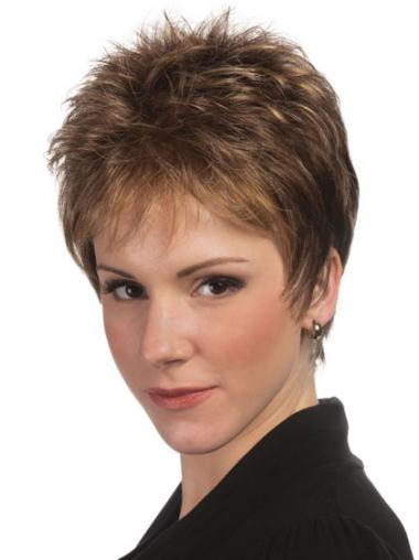 Boycuts Straight Brown Capless Fashionable Short Wigs
