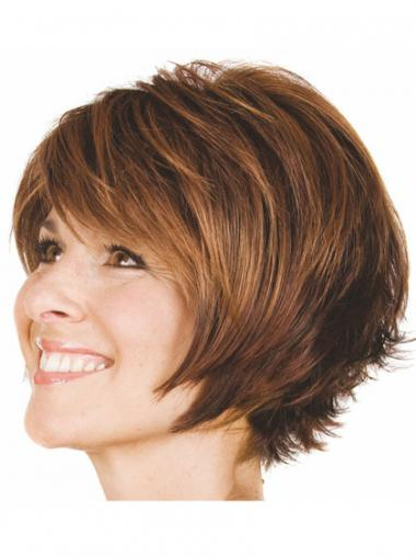 Bobs Wavy Brown Capless Convenient Short Wigs