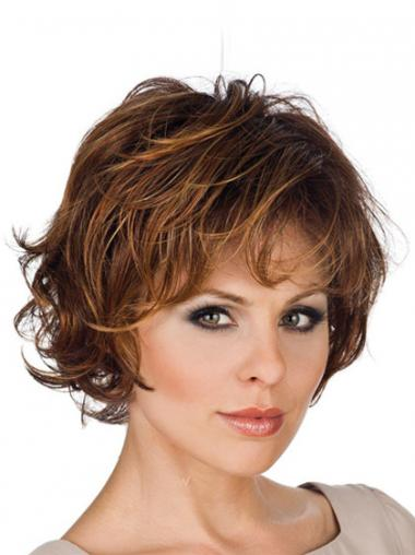 Synthetic Lace Front Wigs Layered Cut Wavy Style Short Length