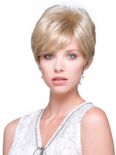"""6"""" Online Straight Boycuts Blonde Short Wigs"""