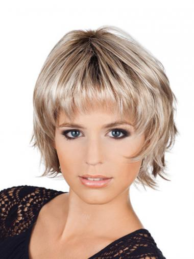Ladies Bob Style Wigs With Capless Chin Length Blonde Color