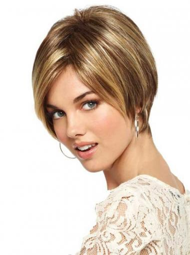 Short Straight Monofilament Blonde Sleek Bob Wigs