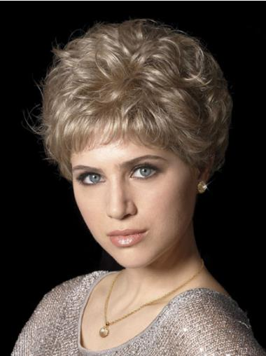 Hair Wigs With Synthetic Capless Wavy Style Cropped Length Boycuts