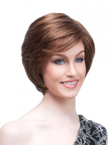 Chin Length Straight Monofilament Auburn High Quality Bob Wigs