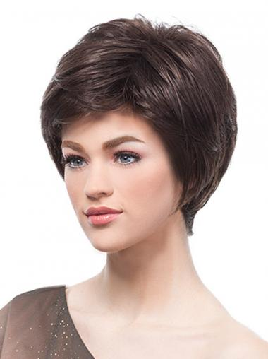 Flexibility Brown Short Straight Boycuts Lace Front Wigs