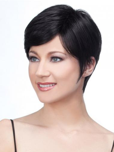 Lace Front Layered Short Straight Black Human Hair Wigs UK