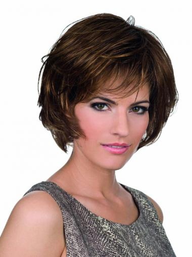 Bobs Lace Front Chin Length Synthetic Brown Monofilament Parting Wigs