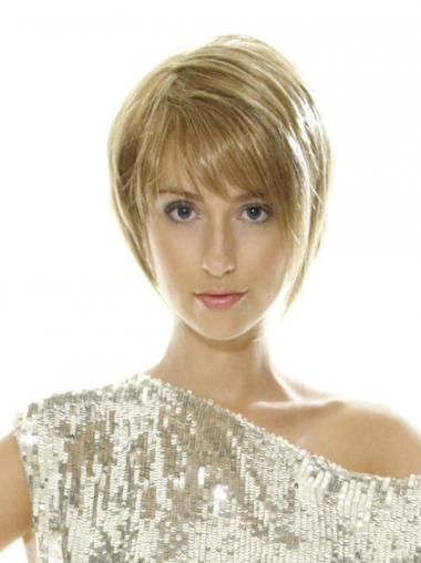 "Short Blonde Style 8"" Straight Bob Wigs"