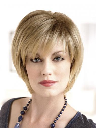 Chin Length Straight Monofilament Blonde Modern Bob Wigs