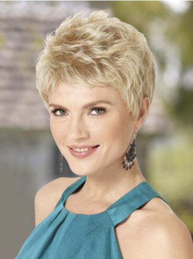 Blond Wig With Capless Wavy Style Cropped Length Boycuts