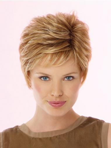 Fabulous Blonde Cropped Wavy Boycuts Lace Front Wigs