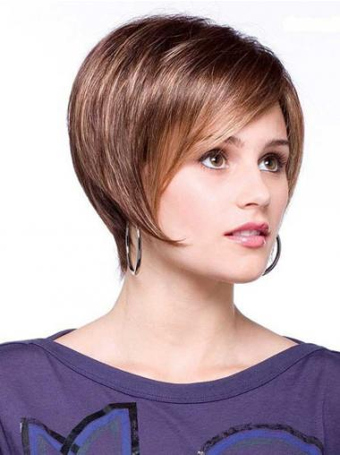 "Short Brown Good 6"" Straight Bob Wigs"